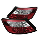 Honda Civic Coupe 2006-2010 Red and Clear LED Tail Lights