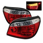 2007 BMW 5 Series E60 Red and Clear LED Tail Lights