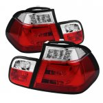 2002 BMW 3 Series E46 Sedan Red and Clear LED Tail Lights