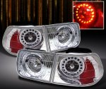 Honda Civic Coupe 1996-2000 Chrome LED Tail Lights