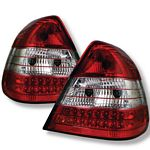 Mercedes Benz C Class 1994-2000 Red and Clear LED Tail Lights
