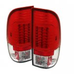 2002 Ford F250 Super Duty Red and Clear LED Tail Lights