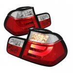 BMW E46 Sedan 3 Series 1999-2001 Red and Clear LED Tail Lights