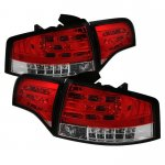 2007 Audi A4 Sedan Red and Clear LED Tail Lights