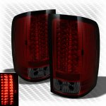 GMC Sierra 3500HD 2007-2012 Red and Smoked LED Tail Lights