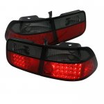 2000 Honda Civic Coupe Red and Smoked LED Tail Lights