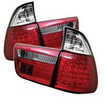 BMW E53 X5 2000 Red and Clear LED Tail Lights