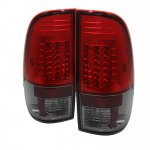 Ford F550 Super Duty 2008-2014 Red and Smoked LED Tail Lights