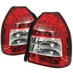 Honda Civic Hatchback 1996-2000 Red and Clear LED Tail Lights