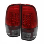 2002 Ford F250 Super Duty Red and Smoked LED Tail Lights