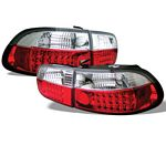 1993 Honda Civic Red and Clear LED Tail Lights