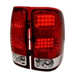 GMC Sierra 2007-2013 Red and Clear LED Tail Lights
