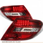 Mercedes Benz C Class 2008-2010 Red and Clear LED Tail Lights