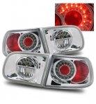 1993 Honda Civic Hatchback Chrome Ring LED Tail Lights