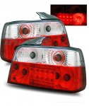 1996 BMW 3 Series Sedan Red and Clear LED Tail Lights