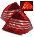 Mercedes Benz S Class 2000-2005 LED Tail Lights Red and Clear
