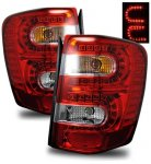 2000 Jeep Grand Cherokee LED Tail Lights Red and Clear