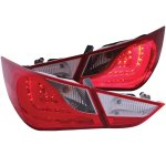 Hyundai Sonata 2010-2012 LED Tail Lights Red and Clear