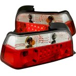 1996 BMW 3 Series Coupe Red and Clear LED Tail Lights
