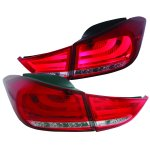 Hyundai Elantra 2011-2013 LED Tail Lights Red and Clear