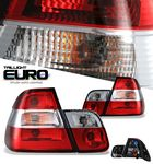 1999 BMW E46 Sedan 3 Series Red and Clear Euro Tail Lights