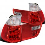 2001 BMW X5 Red and Clear Euro Tail Lights