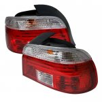 BMW E39 5 Series 1997-2003 Red and Clear Euro Tail Lights