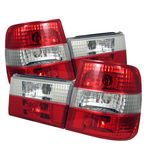 1990 BMW E34 5 Series Red and Clear Euro Tail Lights