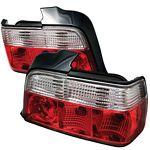 BMW E36 Sedan 3 Series 1992-1998 Red and Clear Euro Tail Lights