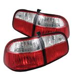 2000 Honda Civic Sedan Red and Clear Euro Tail Lights