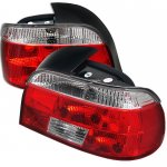 BMW 5 Series E39 1997-2000 Red and Clear Euro Tail Lights