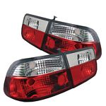 2000 Honda Civic Coupe Red and Clear Euro Tail Lights