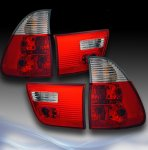 BMW X5 2000-2005 Red and Clear Euro Tail Lights