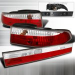 Nissan 240SX 1995-1998 Red and Clear Euro Tail Lights Set