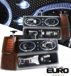 1997 Chevy 1500 Pickup Black Halo Projector Headlights and Bumper Lights Set