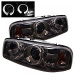 2003 GMC Sierra Smoked Dual Halo Projector Headlights with LED
