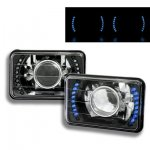 1984 Chrysler Laser Blue LED Black Chrome Sealed Beam Projector Headlight Conversion