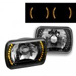 GMC Sierra 1988-1998 Amber LED Black Chrome Sealed Beam Headlight Conversion