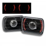 1983 Chevy Cavalier Red LED Black Sealed Beam Projector Headlight Conversion