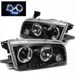 2007 Dodge Charger Black Halo Projector Headlights with LED