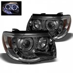 2010 Toyota Tacoma Smoked Dual Halo Projector Headlights LED DRL