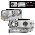 Chevy Silverado 1999-2002 Clear Halo Projector Headlights and LED Bumper Lights