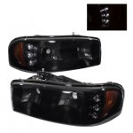2000 GMC Sierra Black Smoked Headlights LED Daytime Running Lights