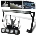 2010 Jeep Wrangler LED Light Bar and Dual Spot Beam LED Windshield Lights with Mounts