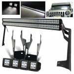 2010 Jeep Wrangler Dual LED Light Bar and Spot Beam LED Windshield Lights with Mounts