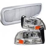 Dodge Dakota 1997-2004 Chrome Front Grill and Headlights Set