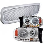 Dodge Durango 1998-2003 Chrome Front Grill and Halo Headlights Set