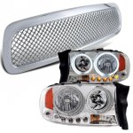 Dodge Dakota 1997-2004 Chrome Mesh Grill and Halo Headlights Set