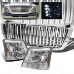Chevy Silverado 3500 2003-2004 Chrome Vertical Grille and Headlight Conversion Kit