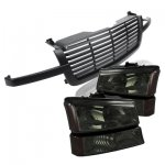 2004 Chevy Silverado 1500 Black Front Grill and Smoked Headlights Set